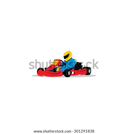 Kart Racing Sign Young Race Car Stock Illustration