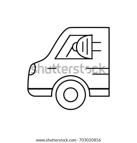 Handdrawn Outline Bucket Truck Isolated On Stock Vector