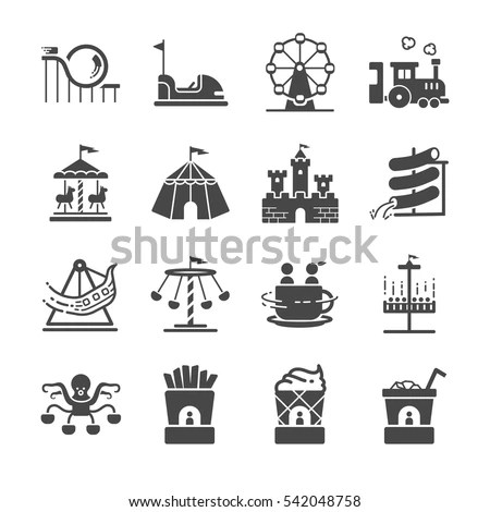 Theme Park Icons Set Included Icons Stock Vector 542048758