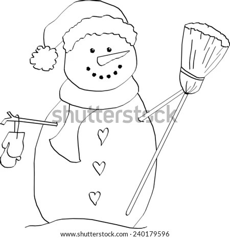 Snowman with Knit Hat, Scarf, Mittens and Broom Coloring