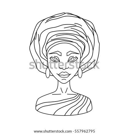 Outline Vector Illustration Woman Gele Contour Stock