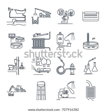 Set Thin Line Icons Public Utility Stock Vector 653648740