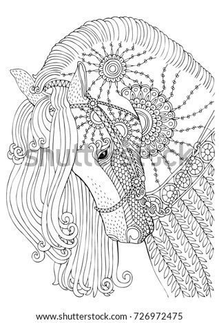 Hand Drawn Horse Sketch Antistress Adult Stock Vector