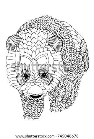 Panda Bear Hand Drawn Picture Sketch Stock Vector