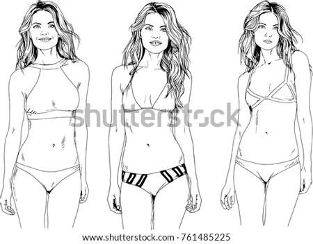 Vector Drawings Sketches Beautiful Girls Blondes Stock