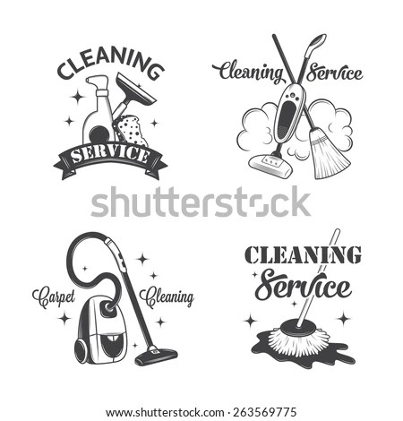 Set Vintage Logos Labels Badges Cleaning Stock Vector