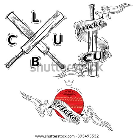 Vector Illustration Cricket Leather Ball Wooden Stock