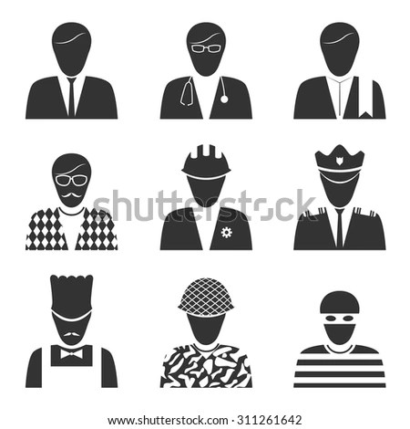 World Occupation Logo Black Silhouette Style Stock Vector