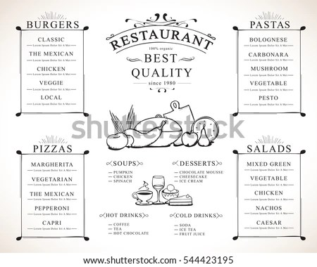 Placemat Design Template Vector Illustration Hand Stock