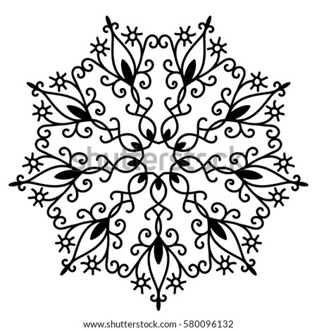 Vector Beautiful Ornamental Rosette Ethnic Tattoo Stock