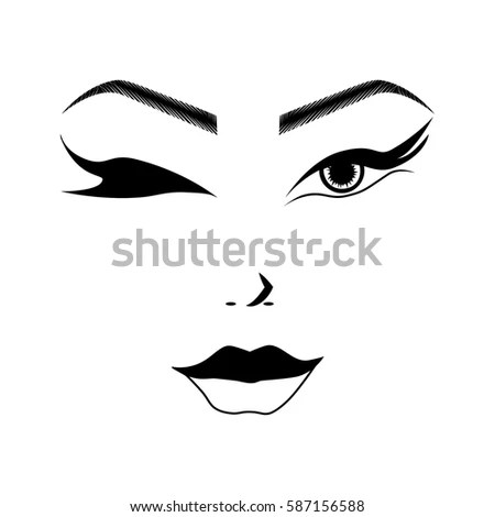 Illustration Outline Sketch Cute Young Woman Stock Vector