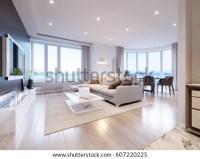 Modern White Gray Living Room Interior Stock Illustration ...