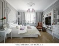 Traditional Classic Modern Bedroom Interior Design Stock ...