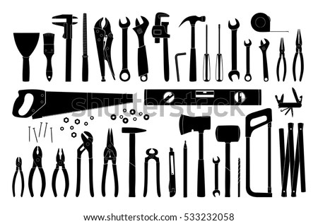 Working Tools Icon Tools Silhouette Repair Stock Vector