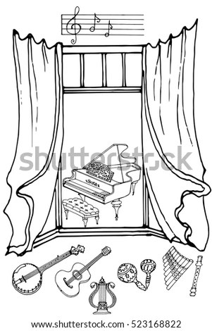Hand Made Vector Sketch Old Town Stock Vector 377089240