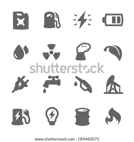 Simple Set Energy Related Vector Icons Stock Vector