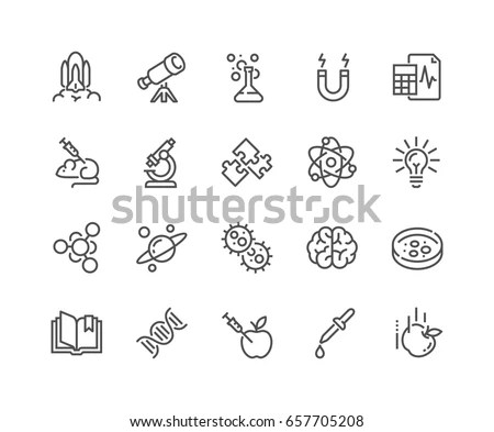 Simple Set Science Related Vector Line Stock Vector