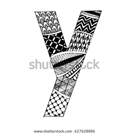 Zentangle Stylized Alphabet Letter K Vector Stock Vector