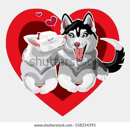 Happy Valentines Day Love Dogs Husky Stock Vector