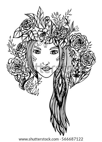 Girl Floral Wreath On Her Head Stock Vector 503538289