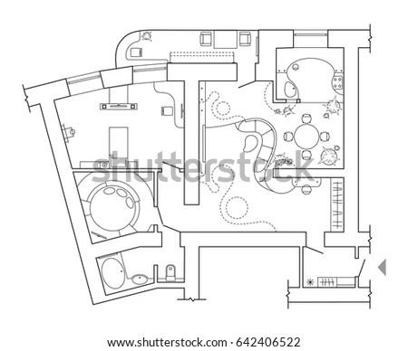 Set Furniture Top View Apartments Plan Stock Vector