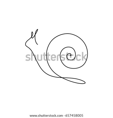 One Line Design Silhouette Snailhand Drawn Stock Vector