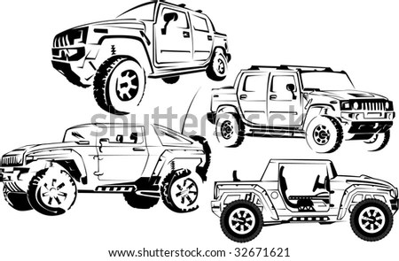 Illustration of a military off-road cars it is isolated on