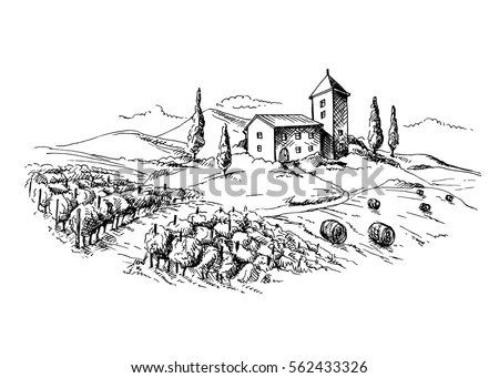 Landscape Drawing Stock Images, Royalty-Free Images