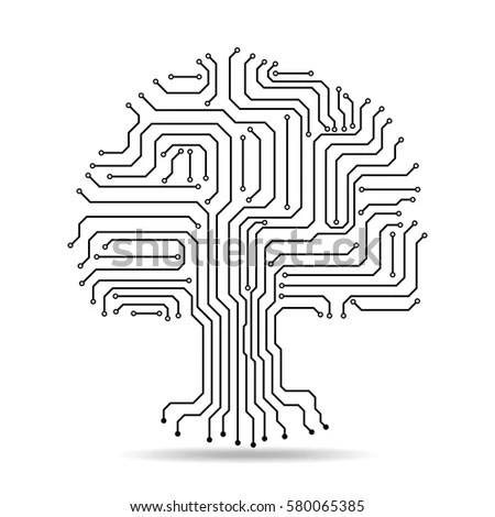 Circuit Board Tree Icon Abstract Line Stock Vector