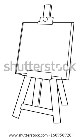 Coloring Page Easel Illustration Children Stock