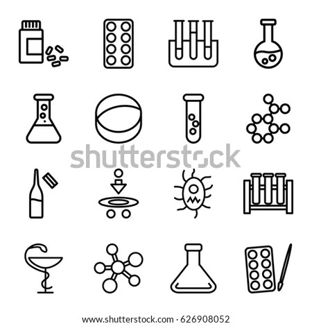 Trendy Science Icons On White Vector Stock Vector