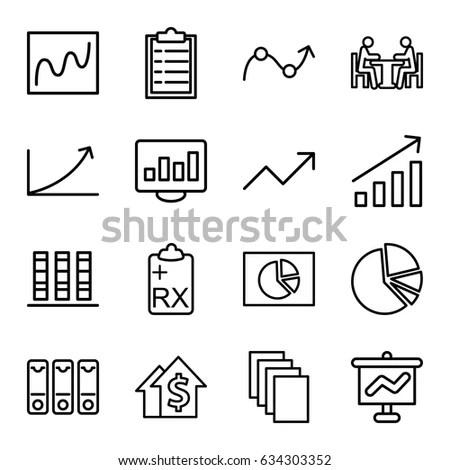 Report Icons Set Set 16 Report Stock Vector 634303352