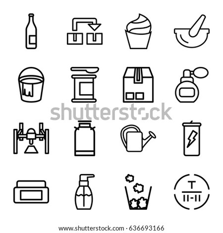 Recycling Icons Including Paper Glass Aluminum Stock