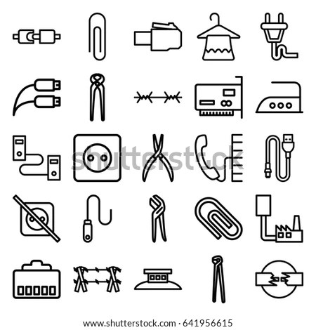 Wire Icons Set Set 25 Wire Stock Vector 641956615