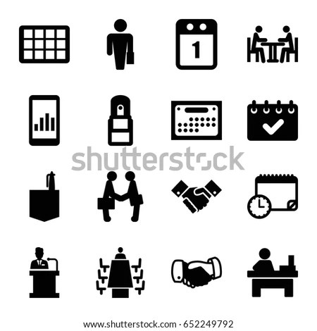 Meeting Icons Set Set 16 Meeting Stock Vector 640785757