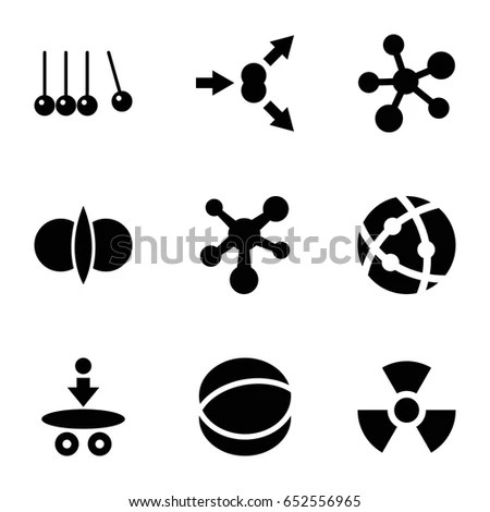 Physics Icons Set Set 9 Physics Stock Vector 652556965