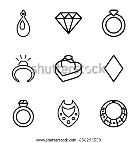 Diamond Icons Set Set 9 Diamond Stock Vector 656293558