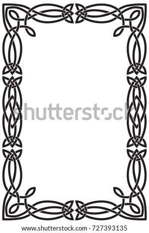 Celtic Frame Rectangular Vertical Black Vector Stock