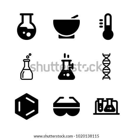 Icons Chemistry Vector Benzene Test Tube Stock Vector
