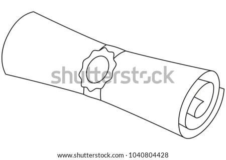Line Art Black White Diploma Scroll Stock Vector