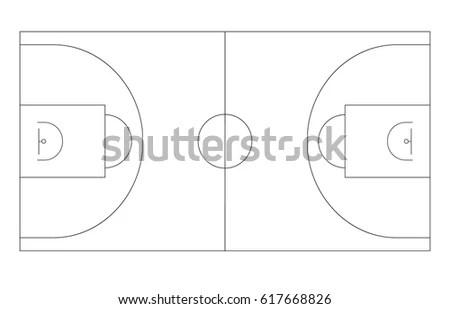 Basketball Court Background Sport Strategy Vector Stock