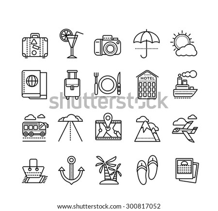 Outline Web Icon Set Summer Vacation Stock Vector