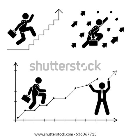 Stick Figure Poses Set Business Finance 스톡 벡터 636067715