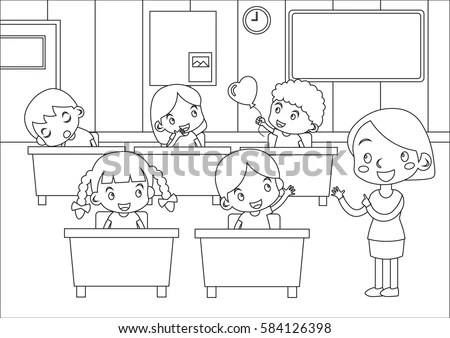 Coloring Page Funny Kids Students Teacher Stock Vector
