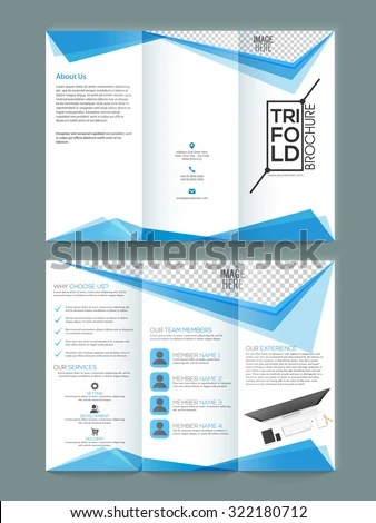 Glossy Professional Trifold Brochure Template Flyer Stock Vector HD