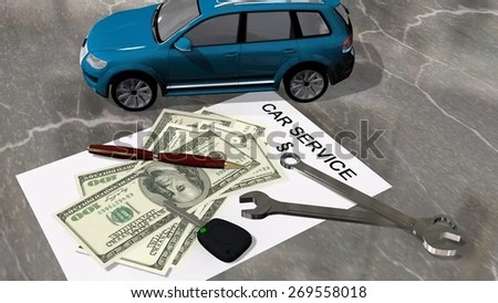 Car Service Contract Car Money Wrench Stock Illustration 269558018 ...