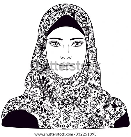 Muslim Girl Dressed Hijab Black White Stock Vector