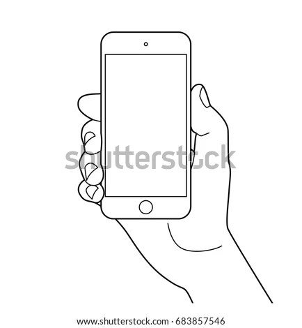 Doodle Hand Drawn Sketch Smart Phone Stock Vector