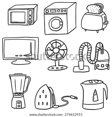 Vector Set Electrical Appliance Stock Vector (Royalty Free
