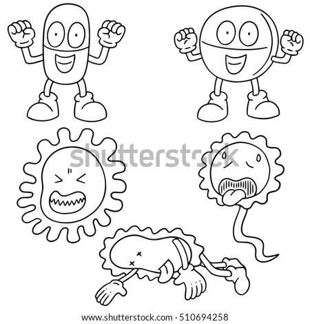 Vector Set Bacteria Antibiotics Stock Vector 510694258
